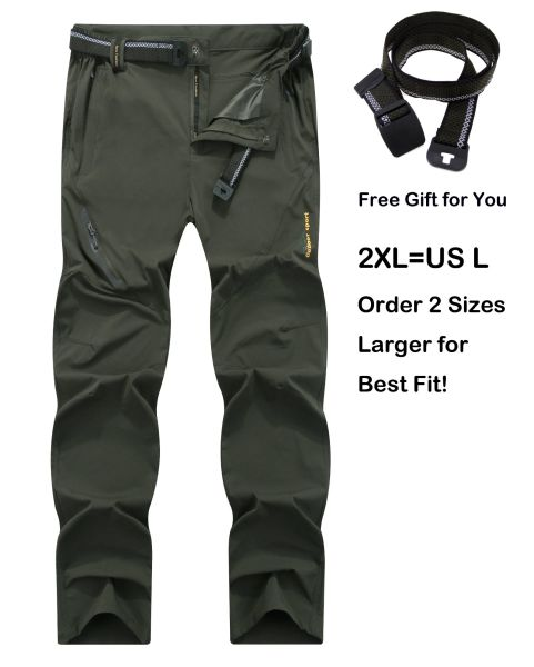 cb6462cab0 SUPERBHUNT Hiking Pants Men: Moisture Wicking Trekking Pants Quick Dry Slim  Fit Lightweight Stretch Camping Pants Spring Summer Early Fall Olive Green  1 Bag ...