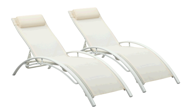 Ainfox Outdoor Patio Lounge Chairs Set of 2,Patio Reclining Adjustable Chaise Lounge,Lounge Chairs for Pool Area,Foldable Lounge Chairs