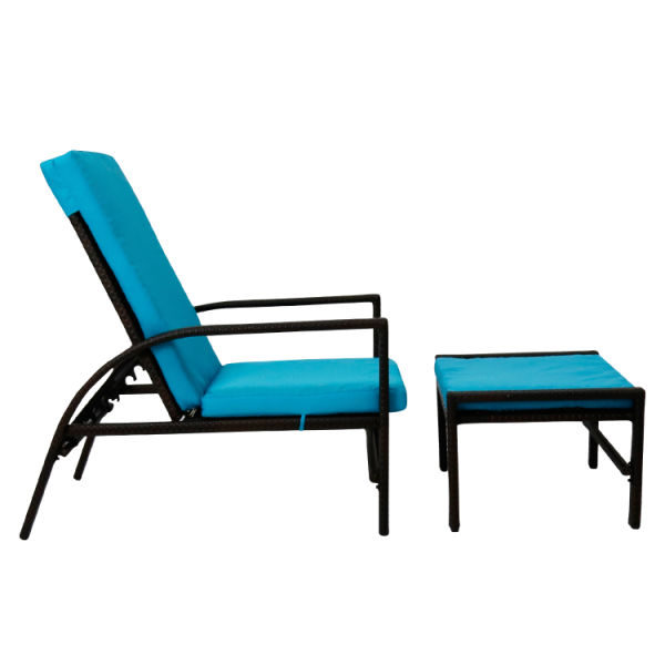 Kinbor Outdoor Black Wicker Adjule Chaise Recliner Relaxing Lounge Chair W Blue Cushion