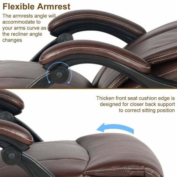 VIVA OFFICE Ergonomic Office Chair Executive Bonded Leather Computer Chair  High Back with Cushioned Seating, Brown 1 Unit / Box