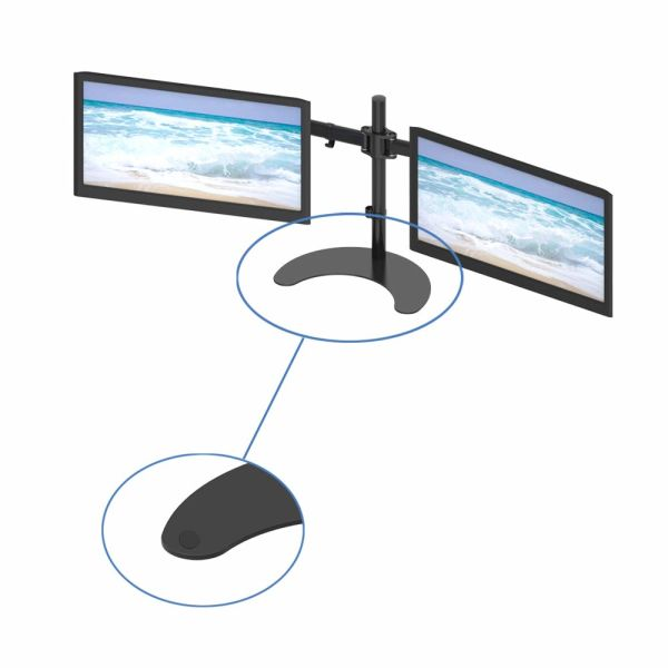 GIBBON Dual Monitor Stand, Heavy Duty Fully Height Adjustable Free Standing  LCD Display Desk Mount