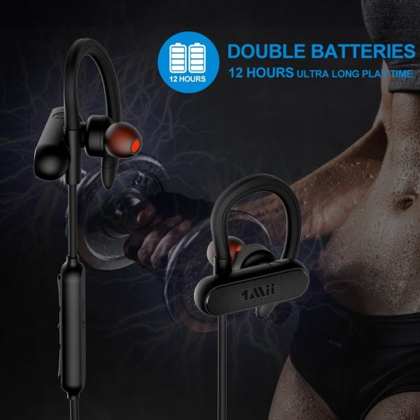 Bluetooth Headphones, 1Mii Wireless Sports Earphones, Built-in AptX, With Mic IPX4 Waterproof Stable Fit In Ear Earbuds Noise Isolating Stereo Headset 12-Hour Working Time for Running Workout Gym