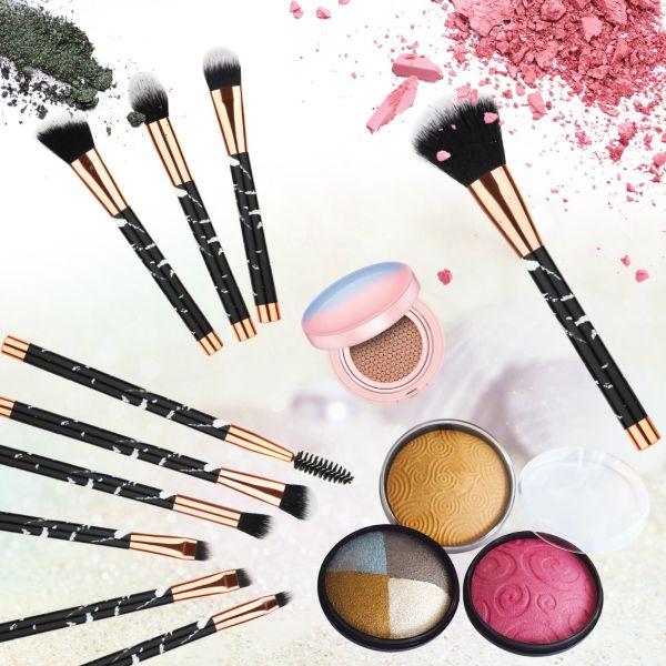 d5f66e04eda7 Beauty Kate Marble Makeup Brushes 10 PCS Makeup Brush Set Premium Face  Eyeshadow Eyebrow Blush Contour Foundation Fluffy Crease Cosmetic Brush Set  for ...