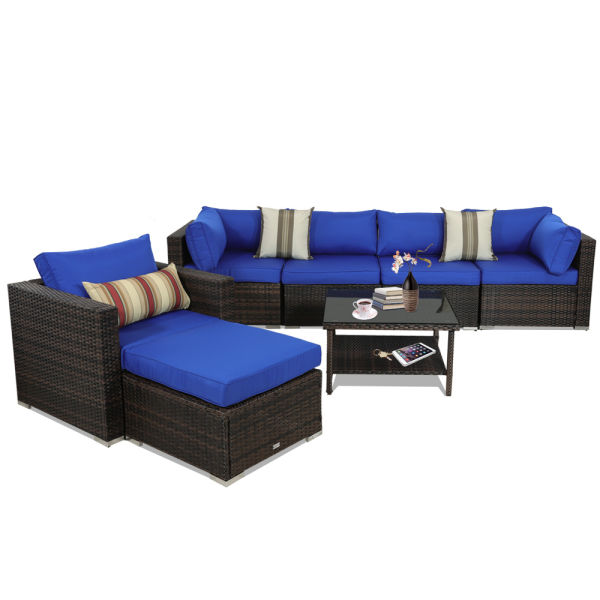 Patio Furniture Sets 7pcs Brown Pe Rattan Sofa Set With Royal Blue Cushion Garden Seating