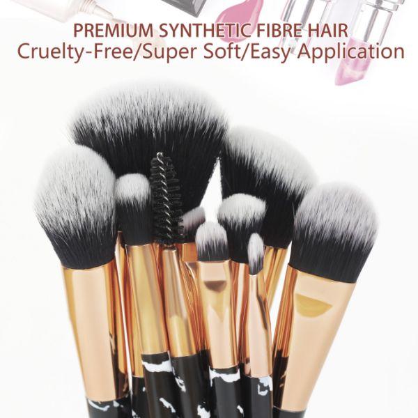 d7400034ed55 Beauty Kate Marble Makeup Brushes 10 PCS Makeup Brush Set Premium Face  Eyeshadow Eyebrow Blush Contour Foundation Fluffy Crease Cosmetic Brush Set  for ...