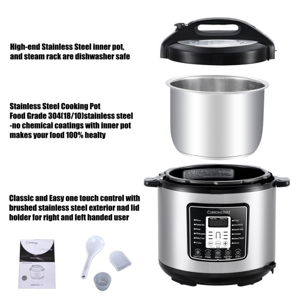 8-In-1 Muti-Use Programmable Bronstarz Pressure Cooker 6 Quart Stainless Steel