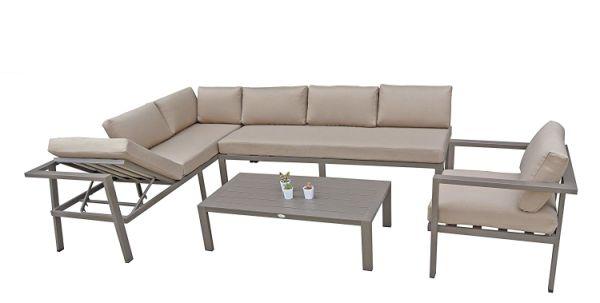 Stellahome Aluminum Outdoor Sectional Patio Sofa Furniture Modular 4pcs  Conversation Set Tan,No Assembly W/Adjustable Lounge Recliner 1 Unit /  Carton