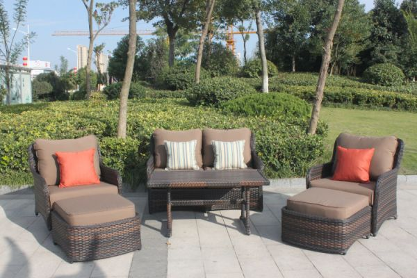 Higreen Outdoor South Bay 6 Piece Wicker Patio Furniture Conversation Set Canvas Cocoa Brown