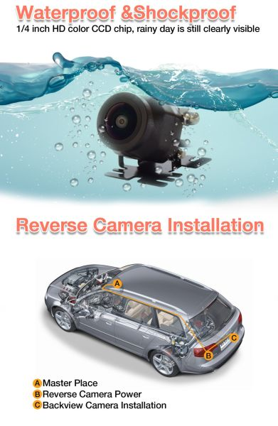 Waterproof Night Vision Car Rear view/Reverse/Backup Camera 160° Degree Universal Color CMOS Back up Parking HD Front View Camera
