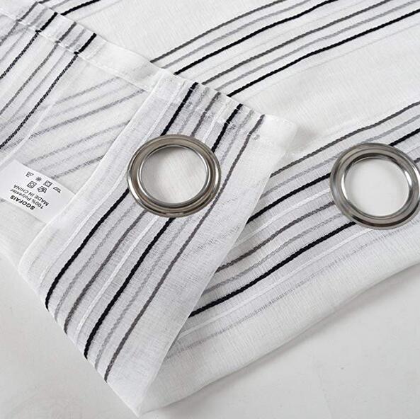 Shop For SGOFAIS Black And White Stripe Sheer Curtains