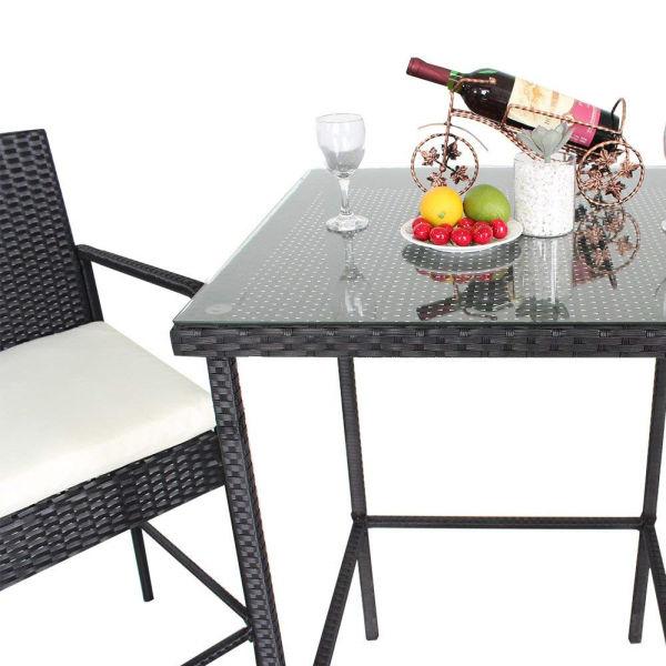 Patio Furniture 5pcs Black Rattan Bar Table and Stools Set Outdoor Garden  Wicker Bar Set Easy Assembly-Beige Cushion (Beige) 1 Set / Carton