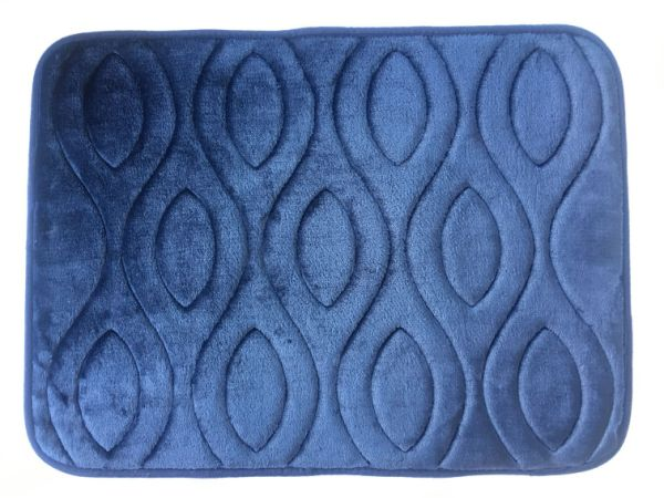 "Regreen Memory Foam Bath Mat Rug, Non Slip Absorbent Flannel Carpet Super Soft Cozy Velvet Rectangle Washable Mat for Bathroom Bedroom Living Room Kitchen Rug Home Decor (17"" X 23"", Dark Blue, Red)"