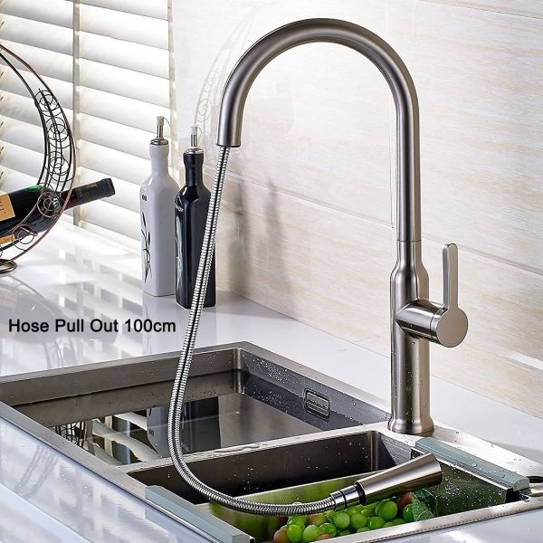 FLG Commericial Single Lever Pull Out Kitchen Sink Faucet with Spray Swivel  Spout Mixer Taps Brushed Nickel 100426N 1 Piece / Box