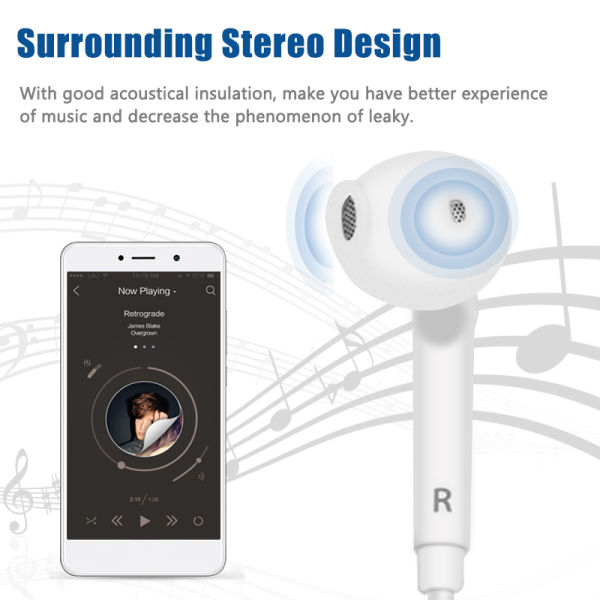 3.5mm Wired Headphone With Mic and Remote Volume Control for iPhone