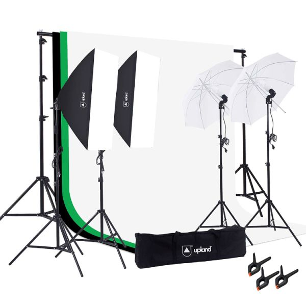 Upland Photography Studio Lighting Kit 800w 5500k Umbrella Softbox Continuous Light Product Portrait Video Shooting 1 Unit Box