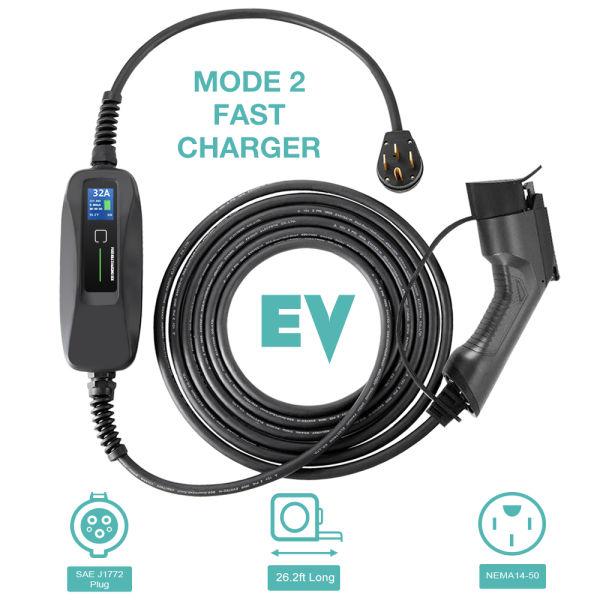 Morec Ev Charger Level 2 32 Amp Upgraded Portable Electric Vehicle Nema 14 50 220v 240v 26ft 7 9m Charging Cable Station Sae J1772 Compatible