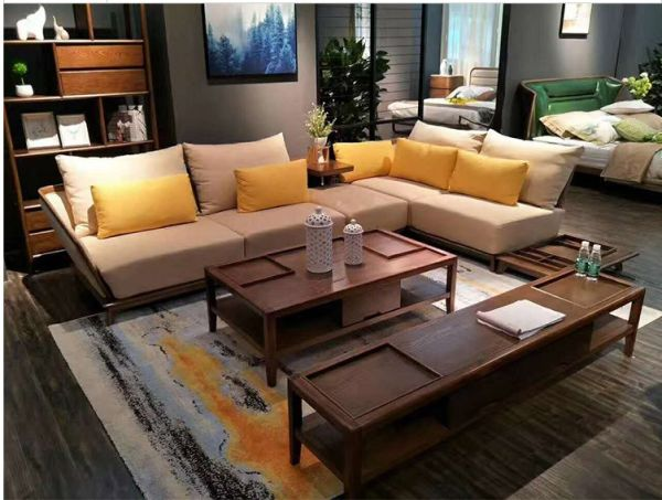 Chinese Couch Luxury Modern Foshan Chesterfield Solid Wood Furniture Living  Room Sofa 1 Piece / Box