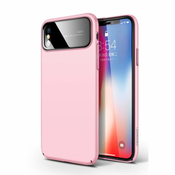 quality design 85ed9 45e89 JOYROOM iPhone X Case, Ultra-Thin Shockproof Drop Protection Anti-Scratch  Tempered Glass Hard Hybrid Protective Case for iPhone X (Pink) 1 Piece / Box