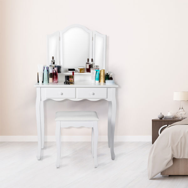 . KINBOR Vanity Table Set  Tri folding Necklace Hooked Mirror  4  Drawers Makeup Dressing Table With Cushioned Stool Easy Assembly  White 1  Piece
