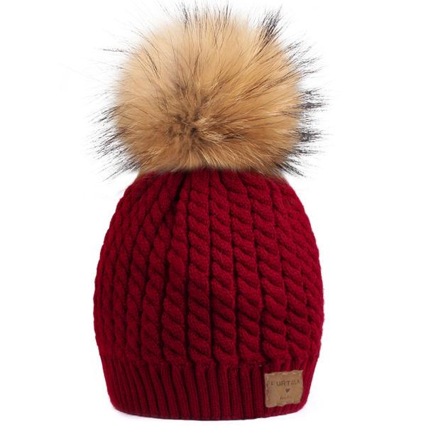 FURTALK Kids Knit Beanie Hats for Girls FURTALK Warm Real Fur Bobble Winter  Pom Pom Hat b34b00e04f88
