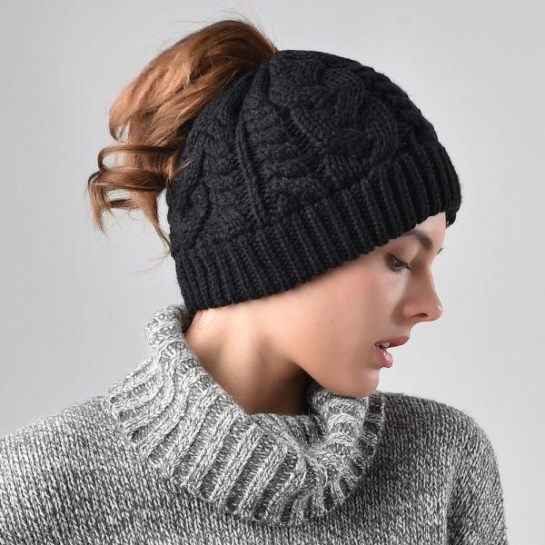 97672f6e FURTALK Womens Beanie Cable Knit Messy High Bun Ponytail Beanie Hat Black  (AD014)