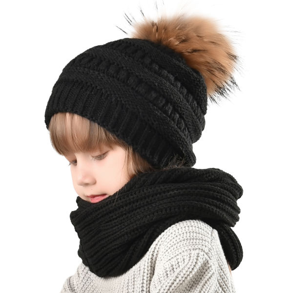 7d9e6d27fb2 FURTALK Kids Toddler Winter Hat Scarf-Boys Knit Girls Faux Fur Pom Beanie  CH011
