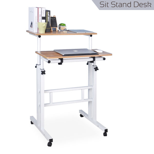 Qwork Mobile Sit-stand Laptop Desk Cart Tilting Table With Dual Surface Ergonomic Desk Height Adjustable Home Office, Ancient Oak