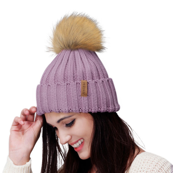 fadc0be12 FURTALK Womens Knit Winter Beanie Hat Faux Fur Pom Pom Bobble Hat Beanie  Girls A004 1 Piece / Bag