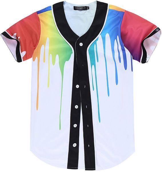 bb7c61df Pizoff Short Sleeve Arc Bottom 3D Colorful Splatter Paint Print Baseball  Jersey Shirt Y1724-38