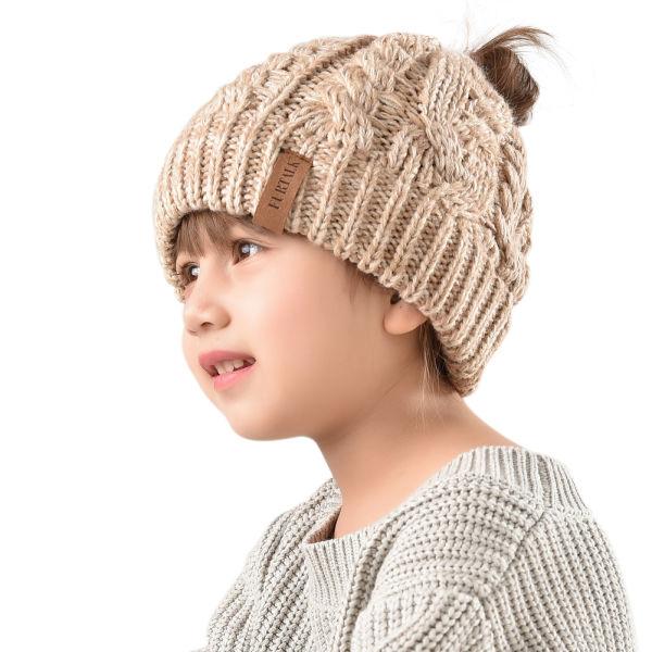 Furtalk Winter Hats For Girls Ponytail Beanie Hat Kids Toddler Girl Knit  Cap Messy Bun Khaki 2d61ca0e09f