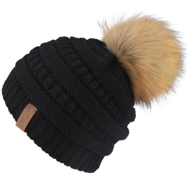 8c8df387a7a FURTALK Kids Girls Boys Winter Knit Beanie Hats Faux Fur Pom Pom Hat Bobble  Ski Cap