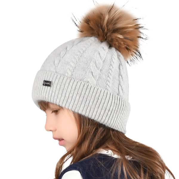FURTALK Kids Winter Hat Toddler Raccoon Fur Pom Beanie Knit Hat Boy Girl Christmas CH004