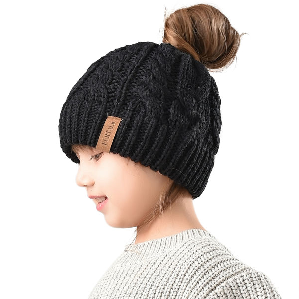 Furtalk Winter Hats For Girls Ponytail Beanie Hat Kids Toddler Girl Knit  Cap Messy Bun Black 3dbd2f5e509