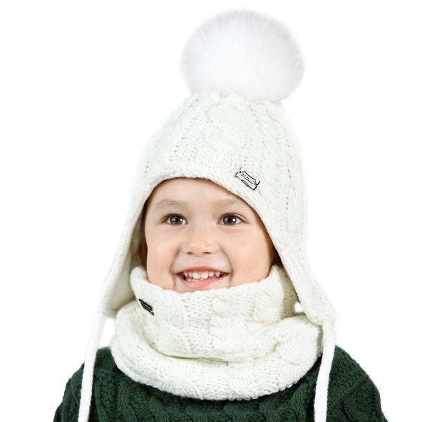 LK Kids Winter Hat and Scarf Set for Baby Girls Boys Toddler Knit Beanie  Hat Fox Fur Pom Pom Ears Flap Hats Fleece Lining SFFW004 1 Piece / Bag