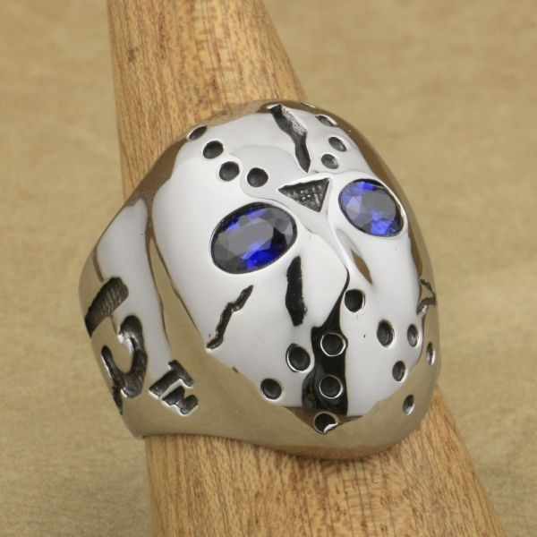 316L Stainless Steel Halloween Mask Jason Hockey Purple CZ Eyes Mens Biker Ring 3F501 US Size 14