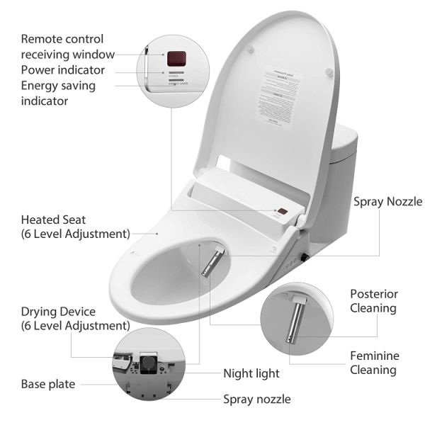Miraculous Yanxuan Smart Toilet Seat With Self Cleaning Stainless Nozzle Bidet With Heated Seat And Temperature Controlled Wash Warm Air Dryer Elongated 1 Caraccident5 Cool Chair Designs And Ideas Caraccident5Info