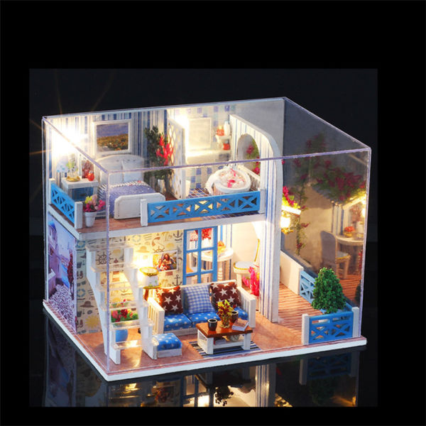 IIE CREATE 2 Floor 3D Puzzle Dream DIY House Dollhouse Miniatures  2019+Miniature Wooden Dollhouse 1 Piece / Carton
