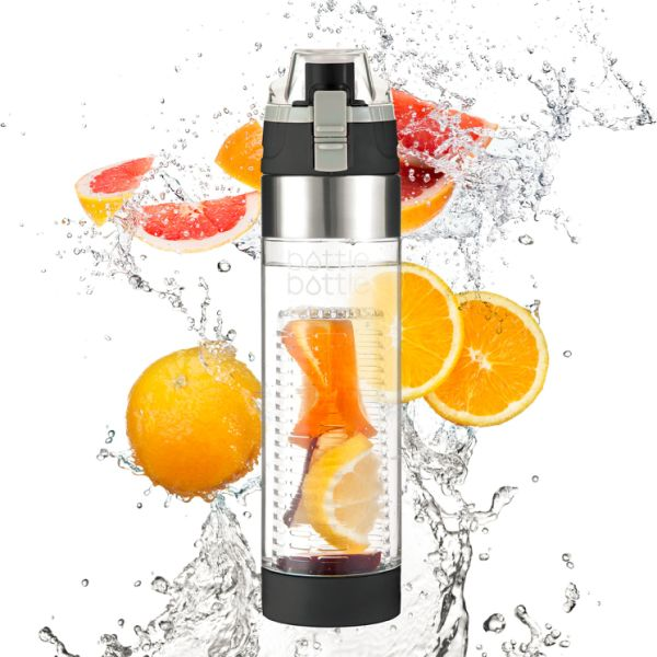 Bottlebottle Fruit Infuser Water Bottle with Leak Proof Locking Flip Top Lid and 2 Infusion Rod, BPA Free Tritan, 24 OZ - Create Naturally Flavored Water ...