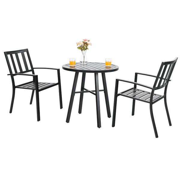 Phi Villa Outdoor Patio Metal 3 Piece Bistro Furniture Set With 2 X Chair 1