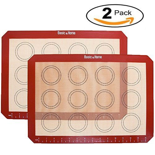 Basic & Home Non-Stick Silicone Baking Mats with Measurements and Circles for Cookie Sheets, Extra Thick Half Sheet Silicone Bakeware Set, 2 Pack, BPA free