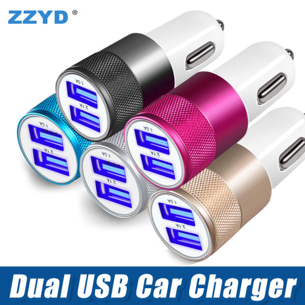 shop for zzyd metal dual usb port car charger universal 2 1 a led.