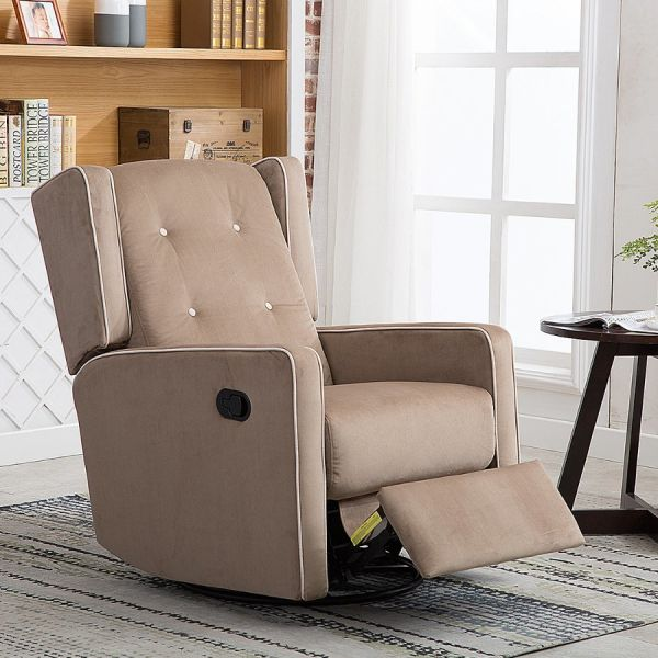 Admirable Canmov Microfiber Swivel Rocker Recliner Living Room Chair Soft Fabric With Single Seat Manual Reclining Chair Mocha 1 Unit Carton Pdpeps Interior Chair Design Pdpepsorg