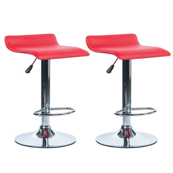 Excellent Von Racer Pu Leather Bar Stools Set Of 2 Adjustable Height 360 Degree Swivel Barstools Modern Pub Counter Chair Red 1 Unit Carton Caraccident5 Cool Chair Designs And Ideas Caraccident5Info