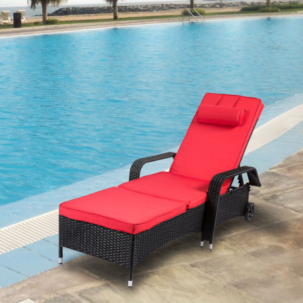 Kinbor Outdoor Wicker Chaise Lounge Chair All Weather Pe Rattan Adjule Pool Recliner Lounger W Cushions 1 Piece Box