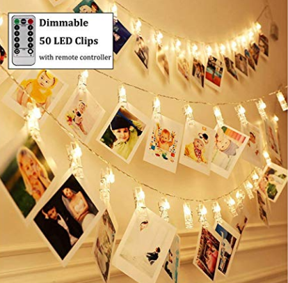 17ft 50LED Photo Clips String Lights, Warm White with Remote Timer Function, for Tree Bedroom Wedding Party, MOQ 500, Shipped by Sea