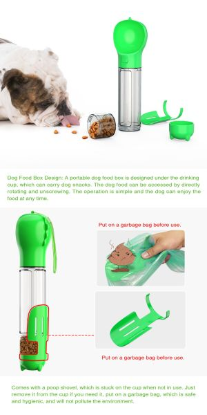 500ML Dog Water Bottle for Walking and Food Container 3 in 1Pet Dog Travel Bottle multi-function Feeding, Watering, Poop Bag, Outdoor Dog Bottle Pet Supplies New design Amazon Hot Sell, Green
