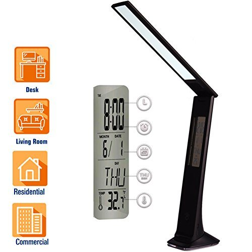 BONASHI Cordless LED Desk Lamp Rechargeable with USB Port, Touch Control Diammable Table Reading Lights with Calendar/Alarm/ Clock LCD Display and Colored Nightlight Base, for Study Sleep, Black