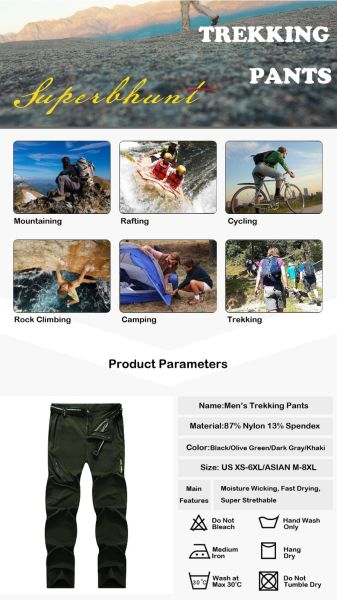 c20d7a922d SUPERBHUNT Hiking Pants Men: Moisture Wicking Trekking Pants Quick Dry Slim  Fit Lightweight Stretch Camping