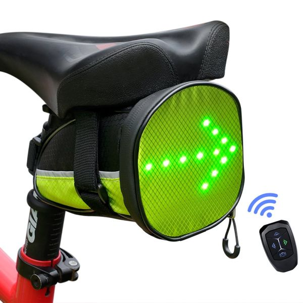 ECEEN LED Cycling Saddle Bag Bicycle Under Seat Bag with Reflective Turn Signal Direction Indicator Light & Wireless Remote Control Durable Rechargeable Lightweight Waterproof for Safe Riding at Night