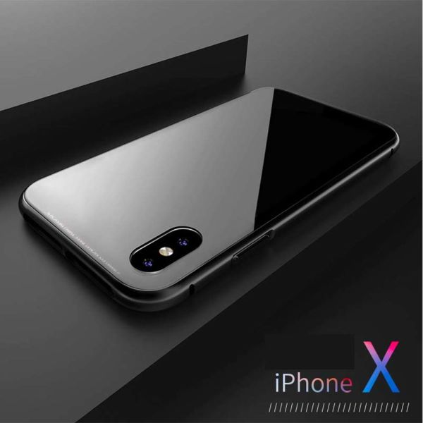 78870e3379 Magnetic Adsorption Phone Case with Clear Tempered Glass + Built-in Magnet  for iPhone X